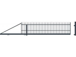 BARCELONA Úszókapu bal+elektromos kapunyitó, Antracit színű 104x400(600)cm
