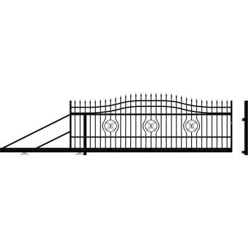 MALAGA Úszókapu bal 159X600(400)cm, Fekete RAL9005