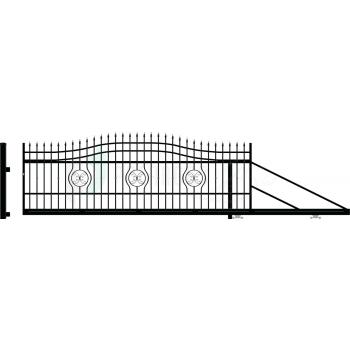 MALAGA Úszókapu jobb 159X600(400)cm, Fekete RAL9005