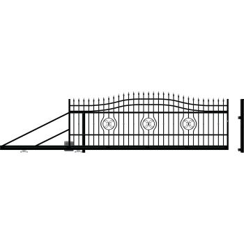 MALAGA Úszókapu bal 159X600(400)cm+Elektromos kapunyitó, Fekete RAL9005