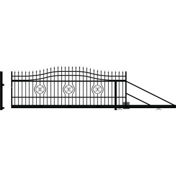 MALAGA Úszókapu jobb 159X600(400)cm+Elektromos kapunyitó, Fekete RAL9005