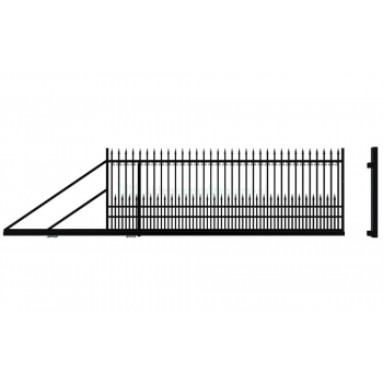 YORK Úszókapu bal 154X400cm+Elektromos kapunyitó, Fekete RAL9005