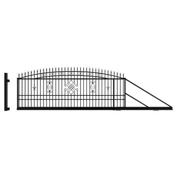 GRETA LUX Úszókapu Jobbos +Elektromos kapunyitó, Fekete 174x600(400)cm