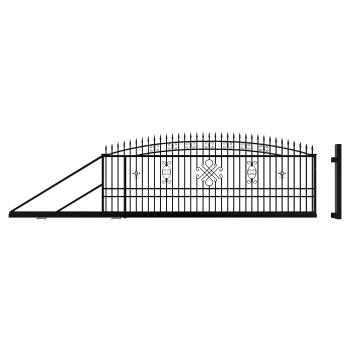 GRETA LUX Úszókapu Balos+Elektromos kapunyitó, Fekete 174x600(400)cm