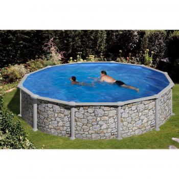 Verona Kerek medence szett, Kőoptika Ø350x120cm (SW:0,45 IH: 0,3), létrával, szabadon felállítható