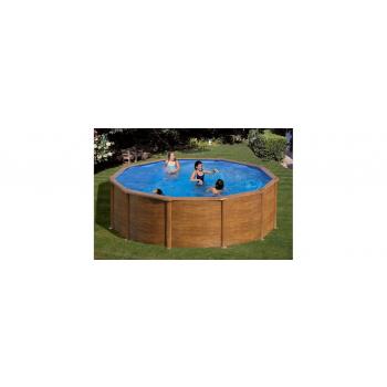 Rhodos Kerek medence szett, Fa színű Ø460x120cm (SW:0,45 IH: 0,3), szabadon felállítható, létrával