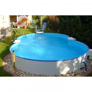 Nyolcas alakú, földbe ágyazott medence Cannes 625x360x150cm (SW:0,8 IH:0,6) létrával